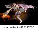 Fantasy Scene Of A Red Dragon...