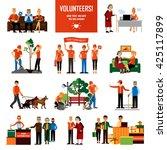 volunteers decorative icons set ... | Shutterstock .eps vector #425117899