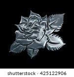 silver metal rose flower on... | Shutterstock . vector #425122906