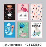 cute summer poster set with... | Shutterstock .eps vector #425123860