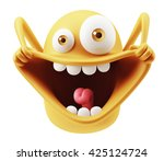Stock photo happy funny emoticon character face expression d rendering 425124724