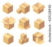 set of nine isometric cardboard ... | Shutterstock .eps vector #425128930