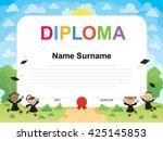 kids diploma certificate... | Shutterstock .eps vector #425145853