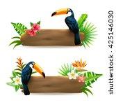 toucan sitting on wooden board... | Shutterstock .eps vector #425146030
