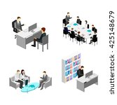 flat 3d web isometric office... | Shutterstock . vector #425148679