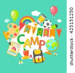 themed summer camp  poster in... | Shutterstock .eps vector #425151250