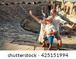 funny family take a self photo... | Shutterstock . vector #425151994