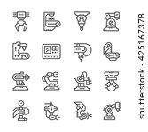 set line icons of robotic... | Shutterstock .eps vector #425167378