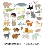 big vector animal collection... | Shutterstock .eps vector #425168434