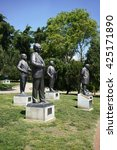 "Small photo of ISTANBUL, TURKEY - APRIL 28, 2016:Bronze statue of the murdered 12 intellectuals between 1978 and 1999 ""Democracy Hero"" project was erected by Abbas Aga Park in Besiktas."