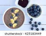 acai berry smoothie bowl with... | Shutterstock . vector #425183449