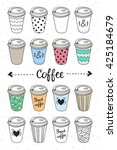 coffee to go paper cups hand... | Shutterstock .eps vector #425184679