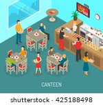 food in workplace isometric... | Shutterstock .eps vector #425188498