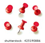 collection of various red push... | Shutterstock .eps vector #425190886