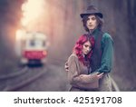 love couple  a stylish young... | Shutterstock . vector #425191708