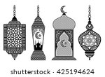 set of arabic lanterns ... | Shutterstock .eps vector #425194624