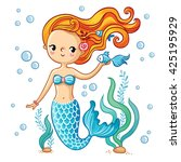 sea collection  mermaid. cute ... | Shutterstock .eps vector #425195929