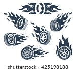 set of wheels silhouettes with... | Shutterstock .eps vector #425198188