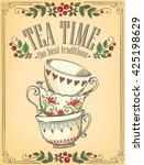 illustration tea time with cute ... | Shutterstock .eps vector #425198629