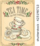 illustration tea time with cute ...   Shutterstock .eps vector #425198713