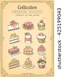 set of hand drawn sweet... | Shutterstock .eps vector #425199043