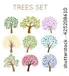 trees vector set | Shutterstock .eps vector #425208610