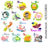 cute animal alphabet for abc... | Shutterstock . vector #425210803