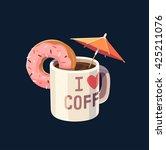 coffee mug with umbrella.... | Shutterstock .eps vector #425211076