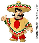 cartoon mexican man in a... | Shutterstock .eps vector #425217649