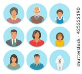 african american family faces... | Shutterstock .eps vector #425223190