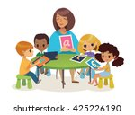 group of happy children and... | Shutterstock .eps vector #425226190