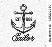 anchor. hand drawn vintage logo.... | Shutterstock .eps vector #425231380