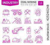 coal mining icon set. thin line ... | Shutterstock .eps vector #425240248