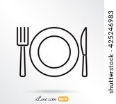 line icon  plate  knife and fork | Shutterstock .eps vector #425246983