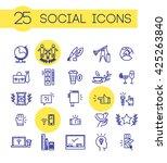 vector simple blue color social ... | Shutterstock .eps vector #425263840