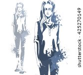 portrait of trendy look girl.... | Shutterstock . vector #425270149