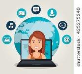 social network design  | Shutterstock .eps vector #425275240