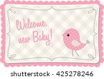 baby shower with pink abstract... | Shutterstock .eps vector #425278246
