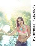 young adult teen girl posing... | Shutterstock . vector #425280943