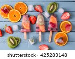 healthy whole fruit popsicles... | Shutterstock . vector #425283148