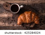 breakfast with coffee and... | Shutterstock . vector #425284024