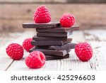 dark chocolate stack with fresh ... | Shutterstock . vector #425296603