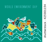 world environment day.ocean... | Shutterstock .eps vector #425301154