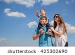 family of three people  young... | Shutterstock . vector #425302690