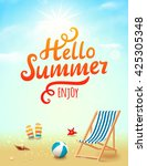 summer poster with hello summer ... | Shutterstock . vector #425305348