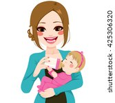 happy young mother holding and... | Shutterstock .eps vector #425306320