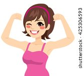 beautiful young strong powerful ... | Shutterstock .eps vector #425306593