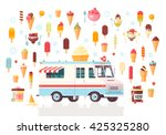 flat vector ice cream icons and ... | Shutterstock .eps vector #425325280
