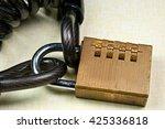padlock bicycle lock. close up...   Shutterstock . vector #425336818