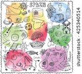 spain doodles elements icon... | Shutterstock .eps vector #425340514